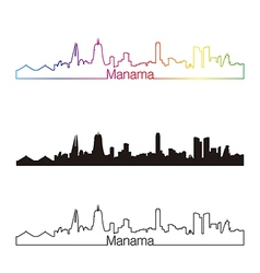 Manama skyline linear style with rainbow vector