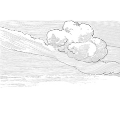 Retro cloudscape vector