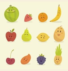 Funny cartoon fruits  flat vector