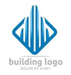 Logo icon tall bulding blue design symbol abstract vector