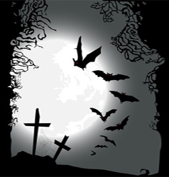 Flying bats halloween horizontal banner vector