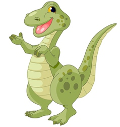 Of cute presenting dinosaur vector