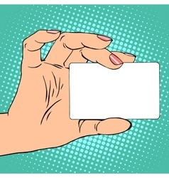 Business or credit card in female hand vector