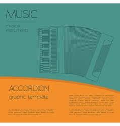 Musical instruments graphic template accordion vector