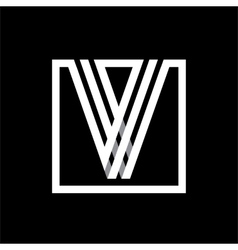 V capital letter made of stripes enclosed in a vector