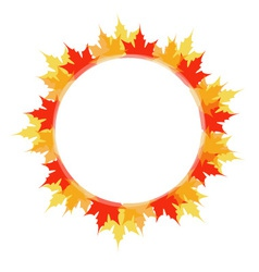Artwork or frame with red and yellow maple leaves vector image vector image