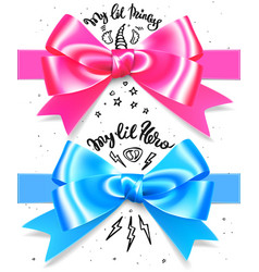 babyboy and babygirl shiny gift bow blue and pink vector image vector image