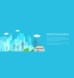 Banner of high voltage power lines vector