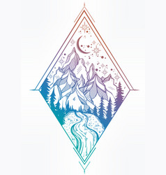 Beautiful mountain landscape geometry elements vector