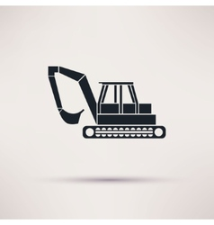 Black excavator icon on light background vector