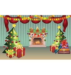 Christmas living room vector