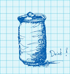 Drawing of soda can on graph paper vector
