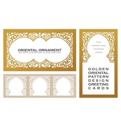 Eastern set gold line frames for design template vector image vector image
