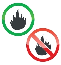 Fire permission signs set vector image