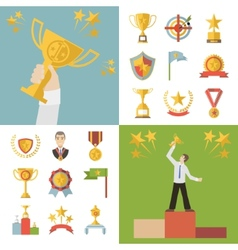 Flat Design Awards Symbols and Trophy Icons Set vector image