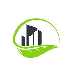 green leaf cityscape building environment logo vector image