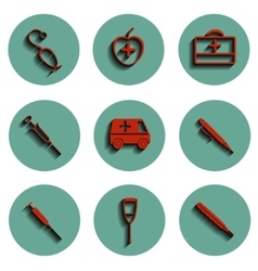 isolated medical icons set vector image vector image