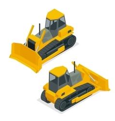Isometric dozer or bulldozer set of the vector