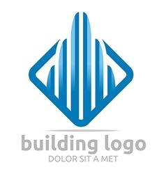 Logo icon tall bulding blue design symbol abstract vector