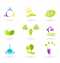 Nature ecology bio icons vector