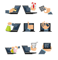 Nine shopping icons vector