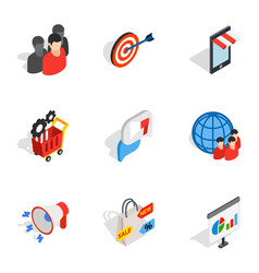 Online shopping icons isometric 3d style vector