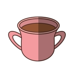 Pink cup coffee aroma fresh handle shadow vector