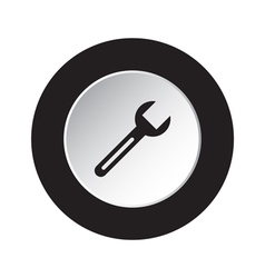 Round black and white button - spanner icon vector