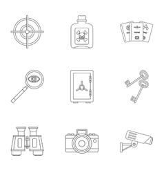 Secret agent icons set outline style vector