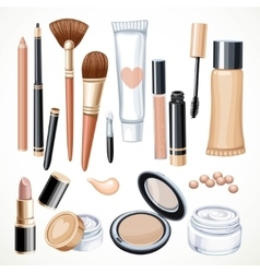 Set of cosmetics objects pencil brush blush vector