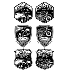 set of retro badges with car and motorcycle on vector image