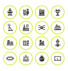 set round icons of power industry vector image vector image
