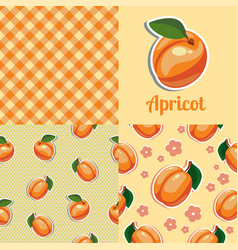 set seamless texture with apricot vector image
