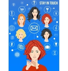 Stay in touch design concept vector image vector image