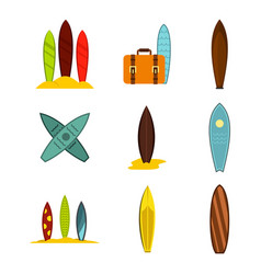 surf board icon set flat style vector image