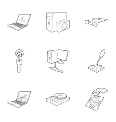 Treatment computer icons set outline style vector