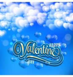 Valentines Day Card with clouds balloons and gold vector image