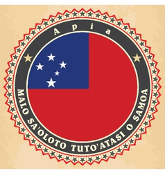 Vintage label cards of samoa flag vector