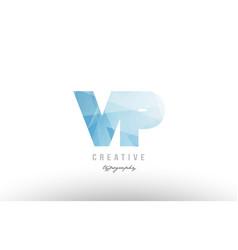 Vp v p blue polygonal alphabet letter logo icon vector