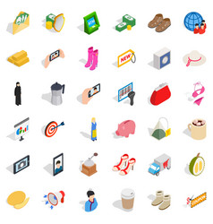 woman icons set isometric style vector image vector image