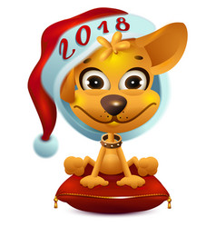 Yellow dog in santa hat symbol 2018 vector