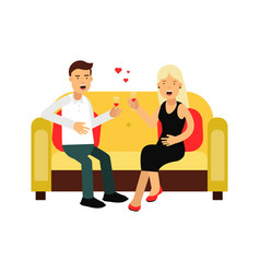 young couple in love sitting on a sofa vector image