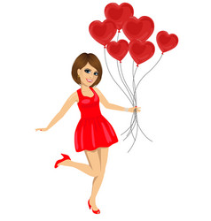 young woman in red dress holding heart balloons vector image
