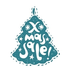 Xmas sale lettering in tree silhouette vector