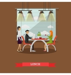 Couple having lunch in restaurant concept vector