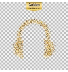 Gold glitter icon of headphone isolated on vector