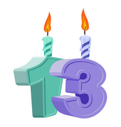 13 years birthday number with festive candle for vector