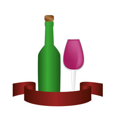 Liquor bottle with cork and glass cup vector