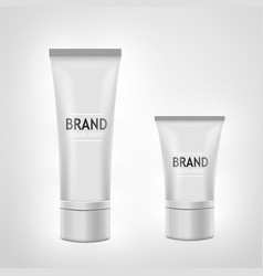 Set of white tube mock-up for cream tooth paste vector