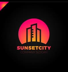 city in sun icon logo design element vector image